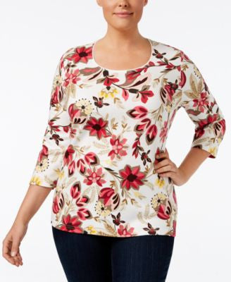 Karen Scott Plus Size Floral-Print Top, Only at Vogily