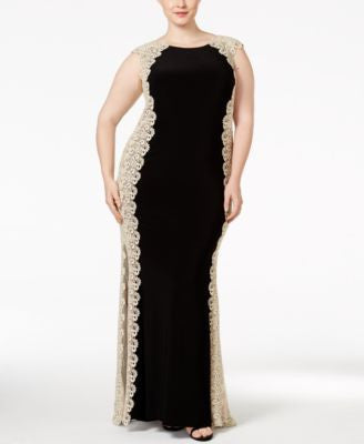 Xscape Plus Size Crochet Lace Column Gown