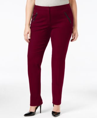 Alfani Plus Size Faux-Leather-Trim Tapered-Leg Pants, Only at Vogily