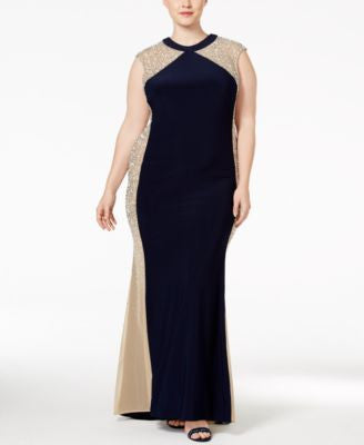 Xscape Plus Size Beaded Illusion Colorblocked Gown