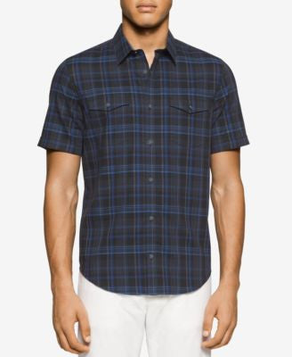 Calvin Klein Men's Short-Sleeve Plaid Pocket Shirt
