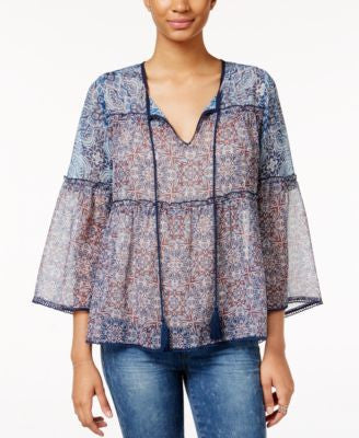 Jessica Simpson Rayna Printed Peasant Top