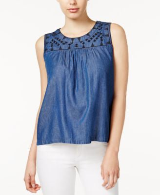 Maison Jules Embroidered Chambray Top, Only at Vogily