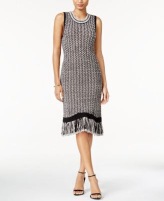 Bar III Fringe Sweater Dress, Only at Vogily