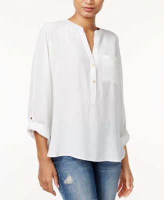 Bar III High-Low Tab-Sleeve Blouse, Only at Vogily
