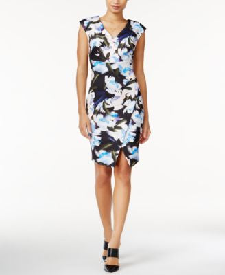 Bar III Floral-Print Envelope Dress, Only at Vogily