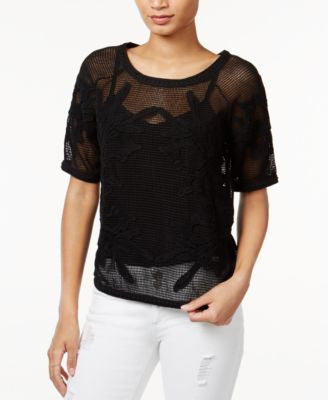 Bar III Embroidered Mesh Top, Only at Vogily