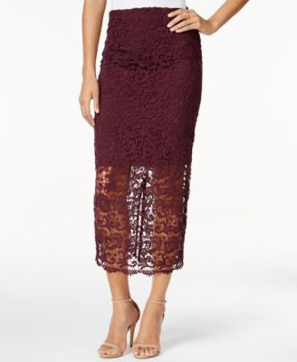 Bar III Crochet Lace Midi Skirt, Only at Vogily