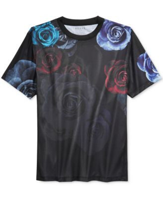 GUESS Men's Mesh Floral Graphic-Print T-Shirt