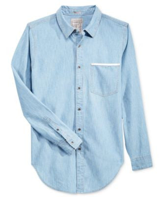 GUESS Men's Longline Denim Long-Sleeve Shirt
