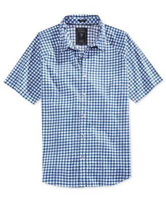 GUESS Men's Turner Check Raglan-Sleeve Shirt