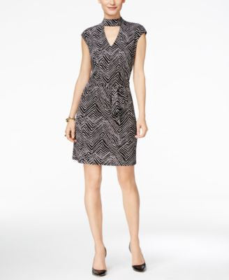 INC International Concepts Petite Printed Mock-Neck Dress, Only at Vogily