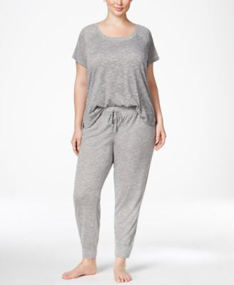 Alfani Plus Size Raglan-Sleeve T-Shirt and Jogger Pants Sleep Separates, Only at Vogily