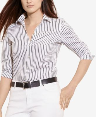 Lauren Ralph Lauren Plus Size Striped Long-Sleeve Shirt