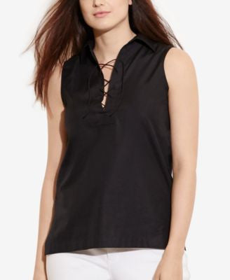 Lauren Ralph Lauren Plus Size Sleeveless Lace-Up Top