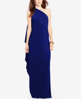 Lauren Ralph Lauren One-Shoulder Cape Gown