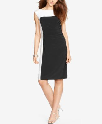 Lauren Ralph Lauren Petite Two-Toned Jersey Dress