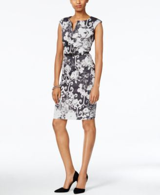 Connected Belted Printed Split-Neck Sheath Dress