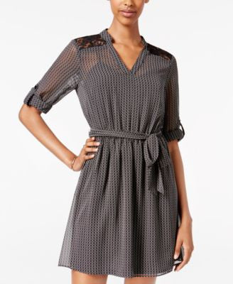 BCX Juniors' Sheer Belted A-Line Dress