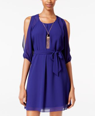 BCX Juniors' Cold-Shoulder A-Line Necklace Dress