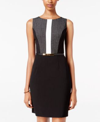 BCX Juniors' Belted Colorblocked Sheath Dress