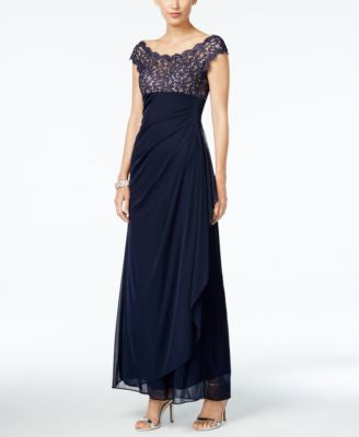 Xscape Lace-Bodice Draped Gown