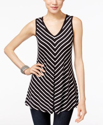 INC International Concepts Striped V-Neck Tank Top, Only at Vogily