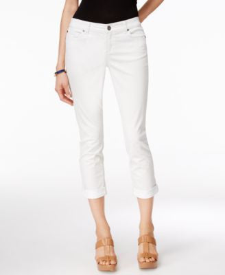INC International Concepts Cuffed White Wash Cropped Jeans, Only at Vogily