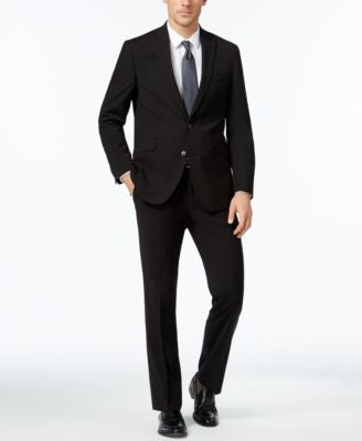 Kenneth Cole Reaction Men's Slim-Fit Black Tonal-Stripe Suit