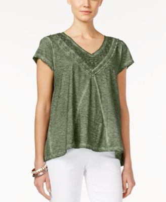 Style & Co. Burnout Crochet-Trim Swing Top, Only at Vogily