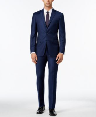 Calvin Klein Men's Extra Slim-Fit Navy Flannel Suit