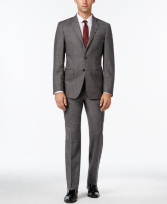 Calvin Klein Men's Extra Slim-Fit Gray Donegal Suit