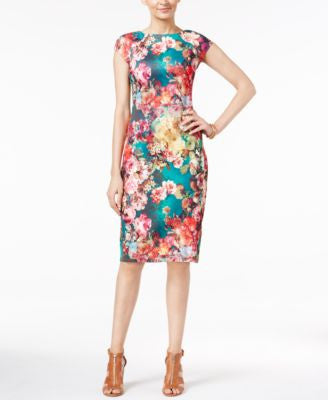 ECI Floral-Print Scuba Sheath Dress