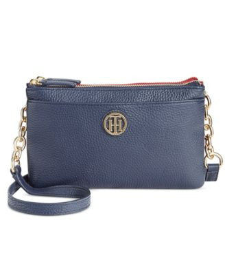 Tommy Hilfiger Double-Zip Colorblocked Pebble Leather Crossbody