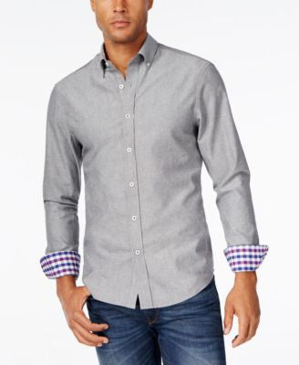 Weatherproof Men's Contrast-Cuff Long-Sleeve Shirt, Only at Vogily
