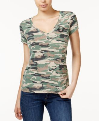 True Religion V-Neck Camouflage-Print T-Shirt