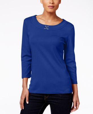 Karen Scott Scoop-Neck Embellished Top, Only at Vogily