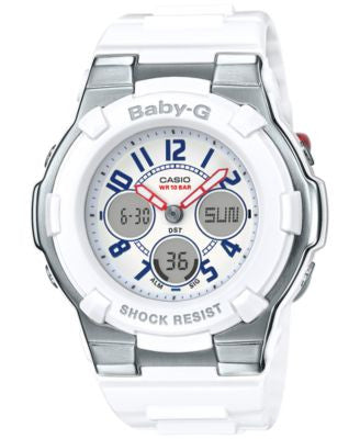 Baby-G Women's Analog-Digital White Resin Strap Watch 44x40mm BGA110TR-7B