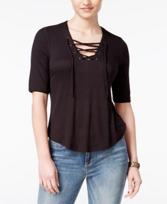 American Rag Three-Quarter-Sleeve Lace-Up Top, Only at Vogily