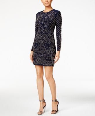 Xscape Beaded Long-Sleeve Bodycon Dress