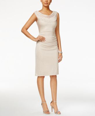 Tahari ASL Embellished Cowl-Neck Sheath Dress