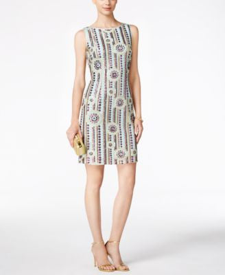 Tahari ASL Sequined Sleeveless Sheath Dress