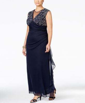 Betsy & Adam Plus Size Embellished Ruched Illusion Gown