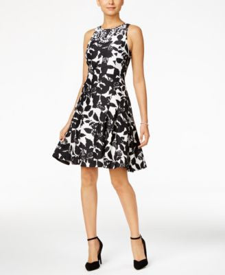 Ivanka Trump Embellished Graphic-Print Fit & Flare Dress