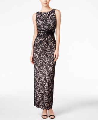 Calvin Klein V-Back Lace Twist Column Gown