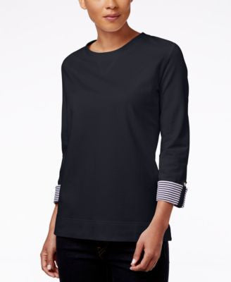 Karen Scott Printed-Cuff Sweatshirt, Only at Vogily