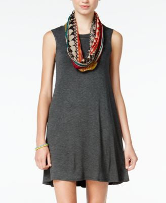 BCX Juniors' Pullover Shift Dress with Printed Infinity Scarf