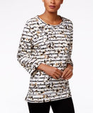 Karen Scott Striped Floral-Print Top, Only at Vogily