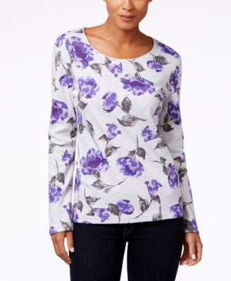 Karen Scott Floral-Print Long-Sleeve Top, Only at Vogily