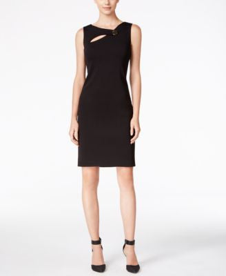Calvin Klein Petite Cutout Button-Accent Sheath Dress
